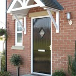 Black composite door with diamond window