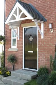 Black composite door with diamond window