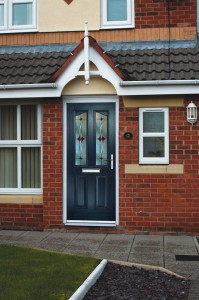 Blue composite door with two glass panes