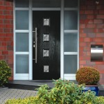 Black front door in composite