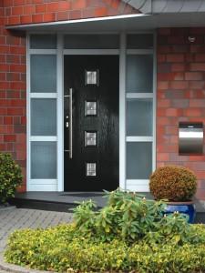 Black front door in composite