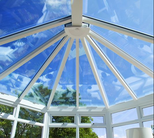 Clear glass conservatory roof