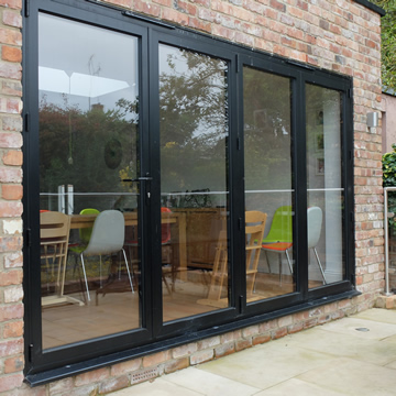 Black bifolding doors closed