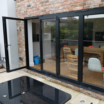 Bifolding doors with one pane open