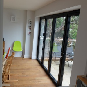 Inside view of aluminium bi-fold doors