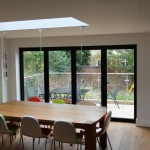 Internal view of aluminium folding doors