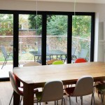 Aluminium bi-fold glass doors in black