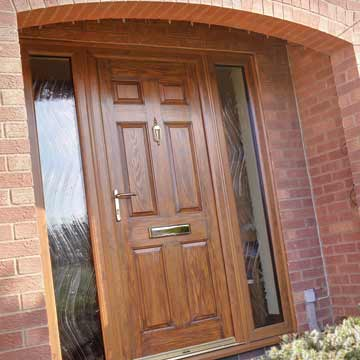 Upvc entrance doors albany windows double glazing for Brown upvc patio doors