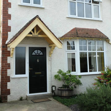 Black composite door with side window