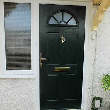 Composite entrance door in black
