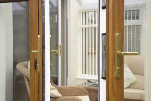 Oak effect finish patio doors