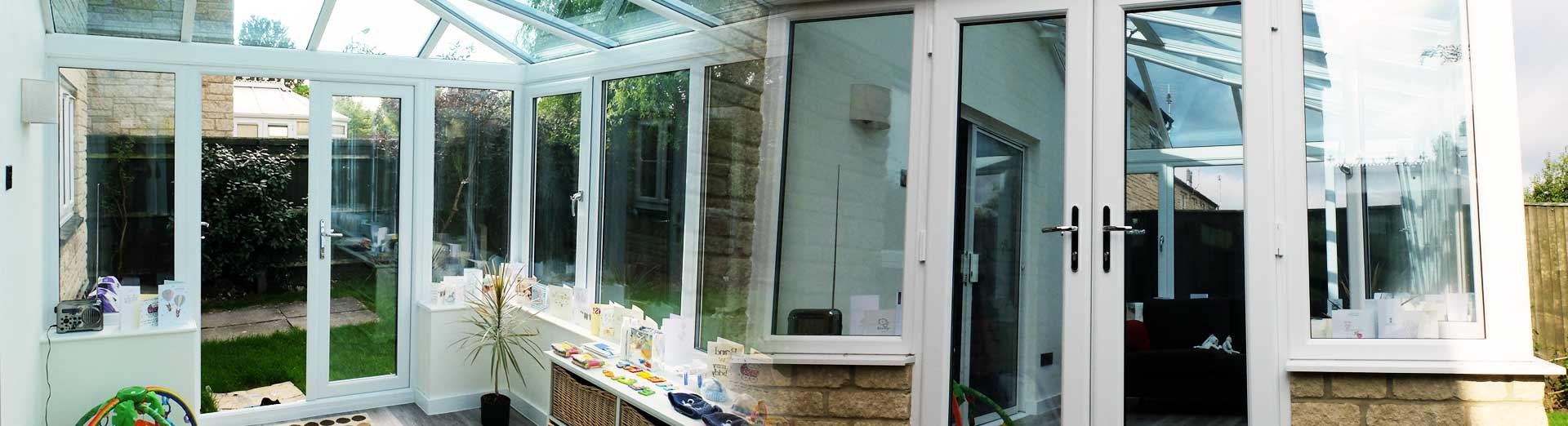 A uPVC conservatory internal view and external view