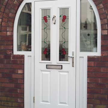 White composite entrance door in white