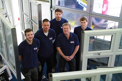 the albany window installers in the showroom