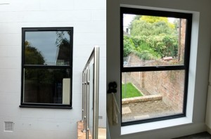 aluminium casement window in black