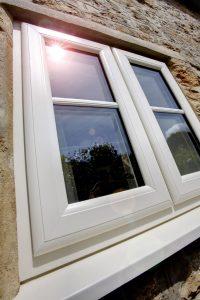 White casement window