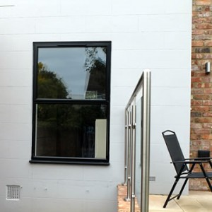 Black casement aluminium window