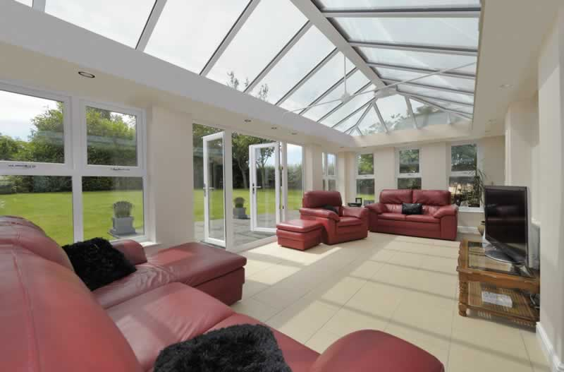 orangery interior with glass roof