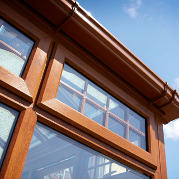 uPVC windows with brown oak colour finish