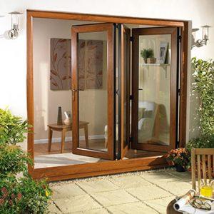 Oak colour bifold door in uPVC material