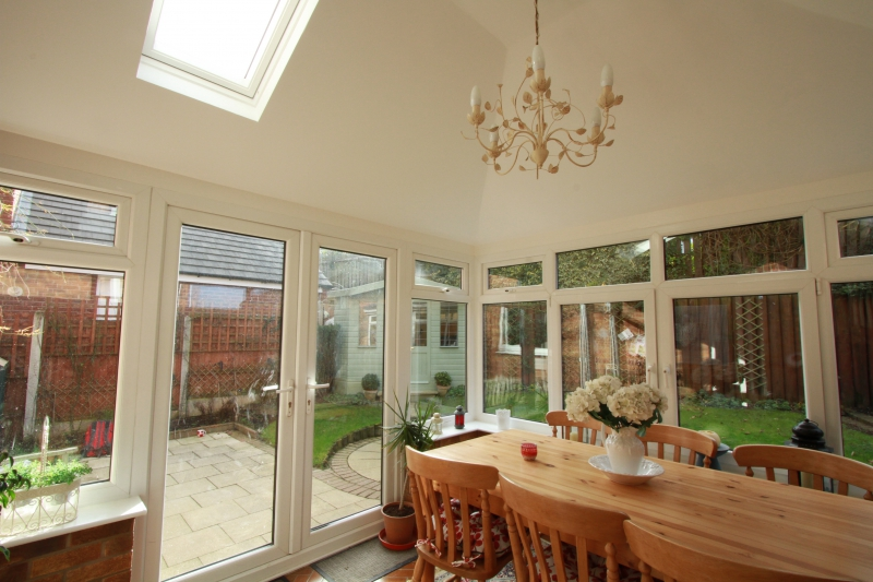 conservatory with plastered roof