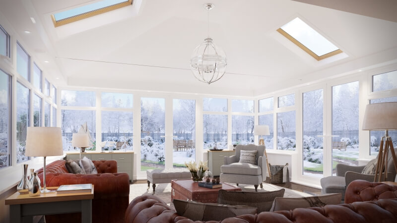 Home extension interior in the winter